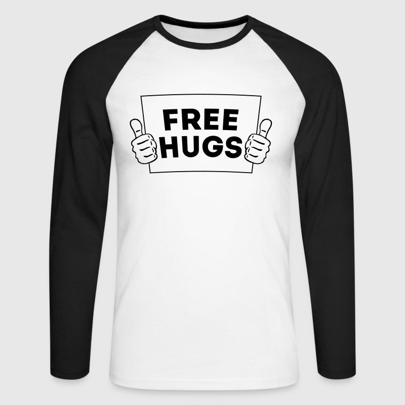 FREE HUGS! Thumbs Up Sign 2C - Men's Long Sleeve Baseball T-Shirt