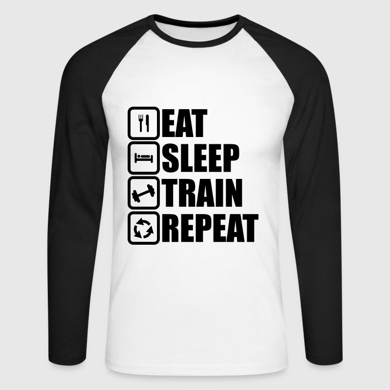 eat sleep train repeat - T-shirt baseball manches longues Homme