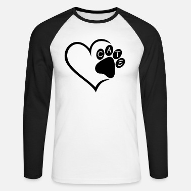 Pet Cat Cats Heart Paw Pet Animals Cat Cats sw - Men's Longsleeve Baseball T-Shirt