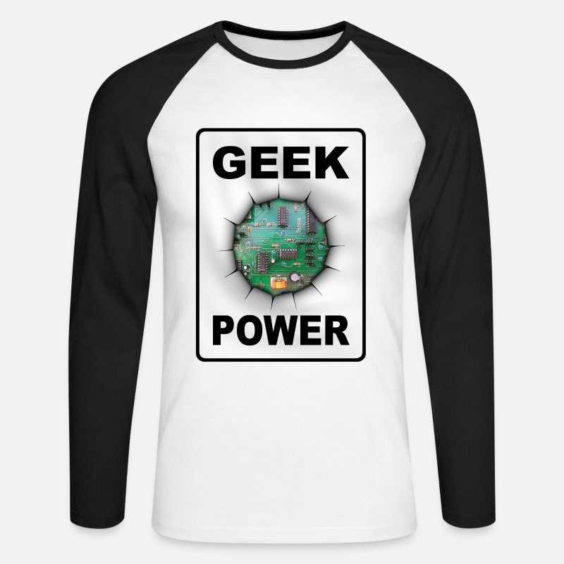 Geek Long Sleeve Shirts - Geek power - Men's Longsleeve Baseball T-Shirt white/black