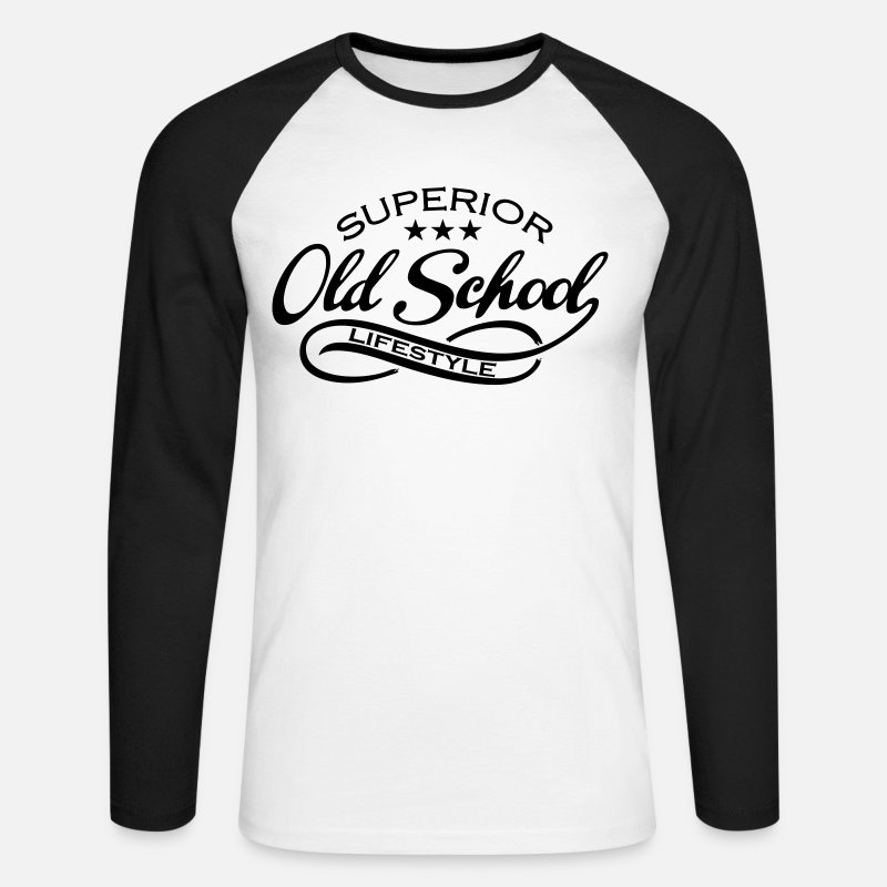 School Long Sleeve Shirts - old school - Men's Longsleeve Baseball T-Shirt white/black