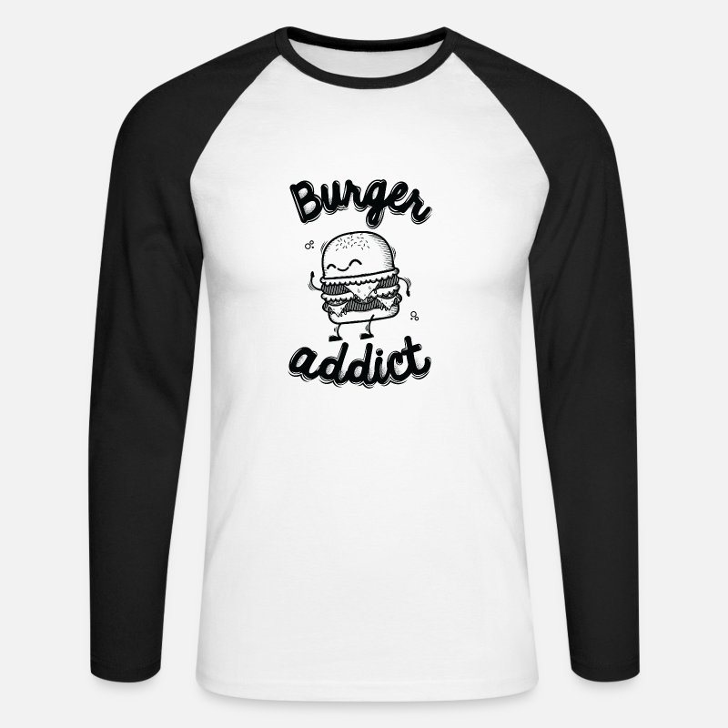 Comic Long sleeve shirts - Burger Addict - Men's Longsleeve Baseball T-Shirt white/black