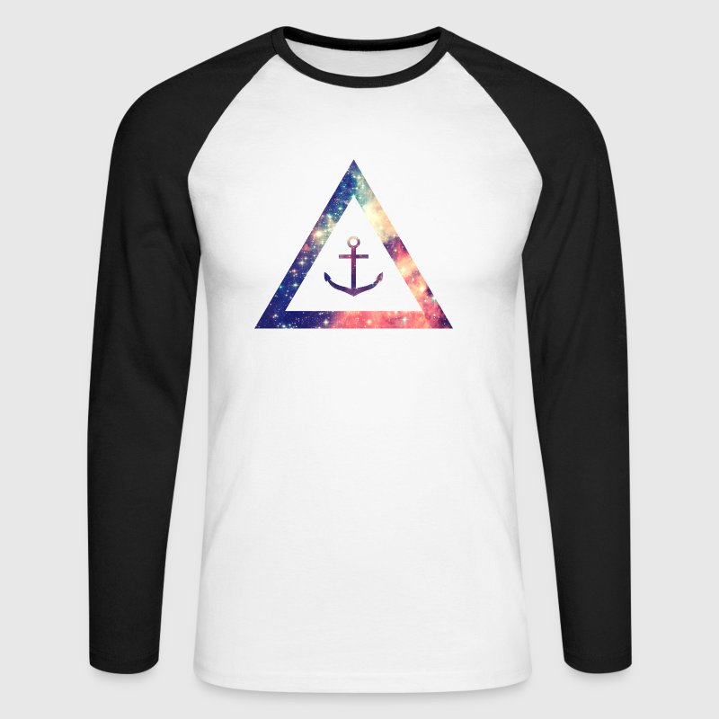 Galaxy / universe / hipster triangle with anchor - Men's Long Sleeve Baseball T-Shirt