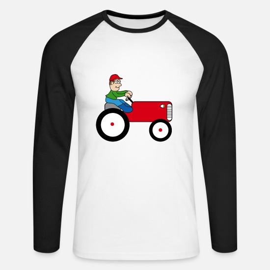 Gift Idea Long sleeve shirts - Tractor | Towing truck Trecker | Bulldog | farmer - Men's Longsleeve Baseball T-Shirt white/black