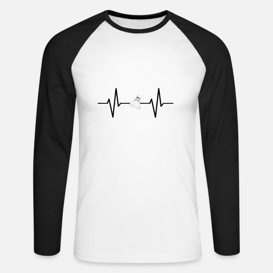 League Game Long sleeve shirts - My heart beats for badminton! present - Men's Longsleeve Baseball T-Shirt white/black