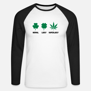 Rave  Cannabis / Hemp / Shamrock - Super Lucky mode - Men's Long Sleeve Baseball T-Shirt