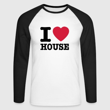 i love house / I heart house - Langermet baseball-skjorte for menn