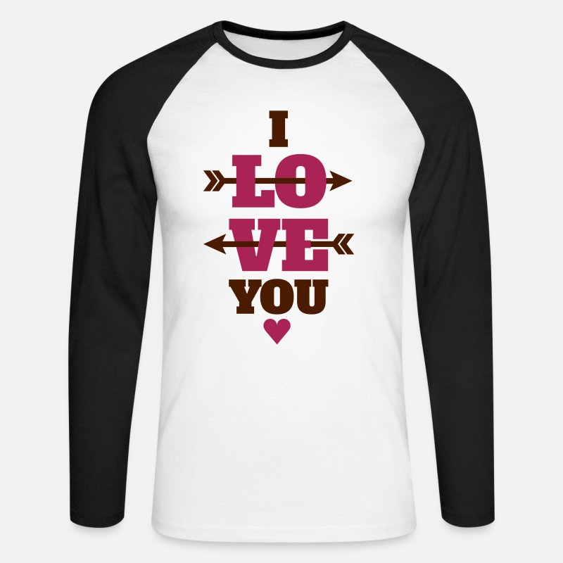 Valentine's Day Long sleeve shirts - I love you Valentin day, love, Valentin day - Men's Longsleeve Baseball T-Shirt white/black