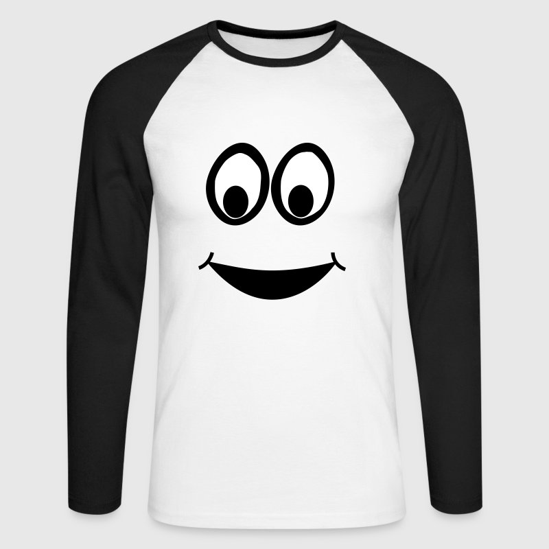 Funny Face, Cartoon Face, Trickfilm, Smiley - Men's Long Sleeve Baseball T-Shirt