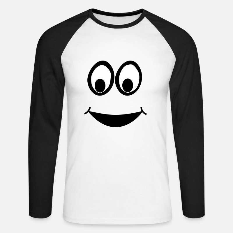 Cake Long Sleeve Shirts - Funny Face, Cartoon Face, Trickfilm, Smiley - Men's Longsleeve Baseball T-Shirt white/black