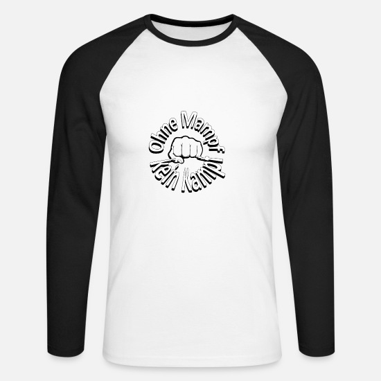 Gift Idea Long sleeve shirts - No fight no fight - fist - Men's Longsleeve Baseball T-Shirt white/black