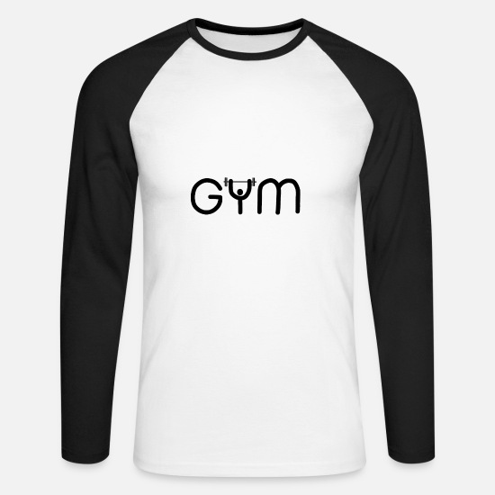 Dumbbells Long sleeve shirts - GYM gym - Men's Longsleeve Baseball T-Shirt white/black