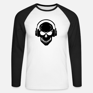 Rave Skull with Headphones - Rave - Electro - Hardstyle - Men's Long Sleeve Baseball T-Shirt
