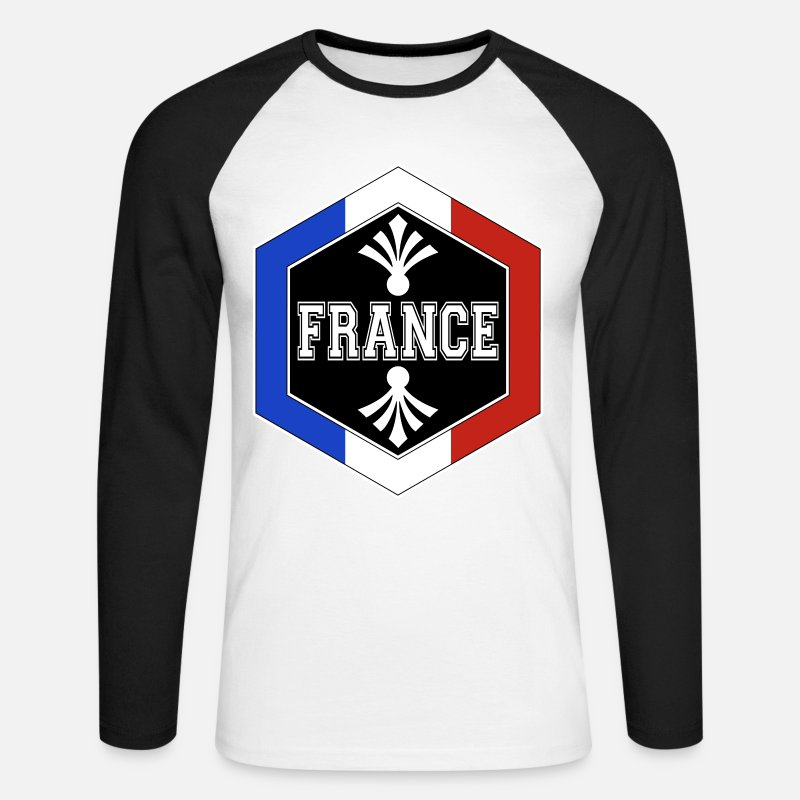 Blanc Manches longues - hexagone france - T-shirt manches longues baseball Homme blanc/noir