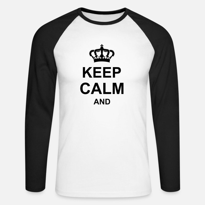 Keep Calm Maglie a manica lunga - keep calm and,corona, g1 k1 - Maglietta a manica lunga baseball da uomo bianco/nero