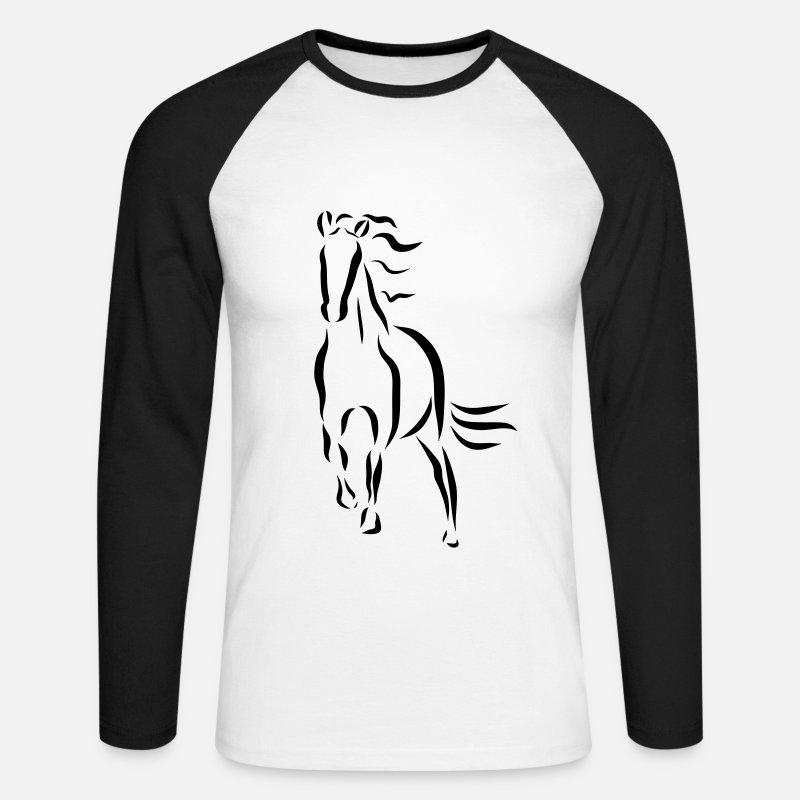 Animals Long Sleeve Shirts - galloping horse Stallion Mare drawing - Men's Longsleeve Baseball T-Shirt white/black