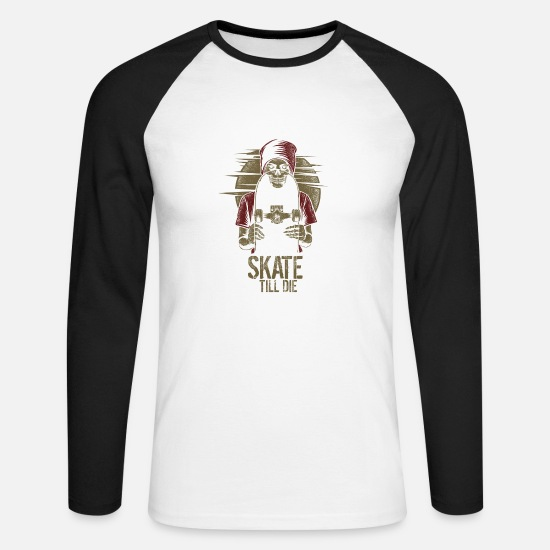 Save The World Long sleeve shirts - Skate Till Die - Men's Longsleeve Baseball T-Shirt white/black