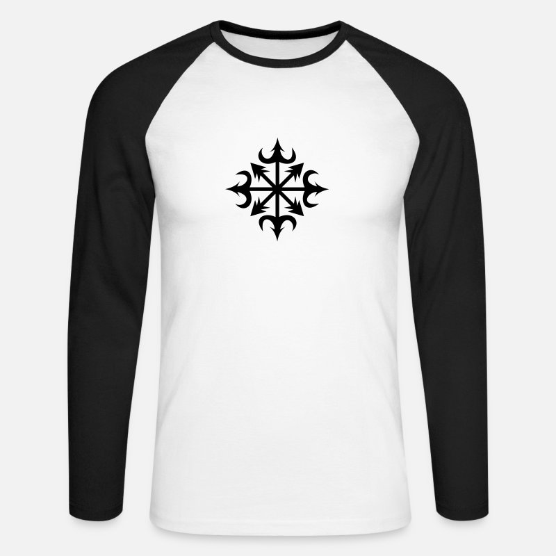 Chaos Long Sleeve Shirts - Chaos Star, Symbol of chaos, vector, everything has meaning and magic power! Power symbol, Energy symbol - Men's Longsleeve Baseball T-Shirt white/black
