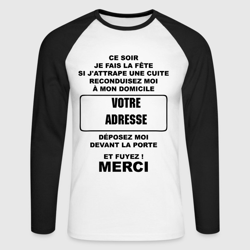 alcool humour - T-shirt baseball manches longues Homme