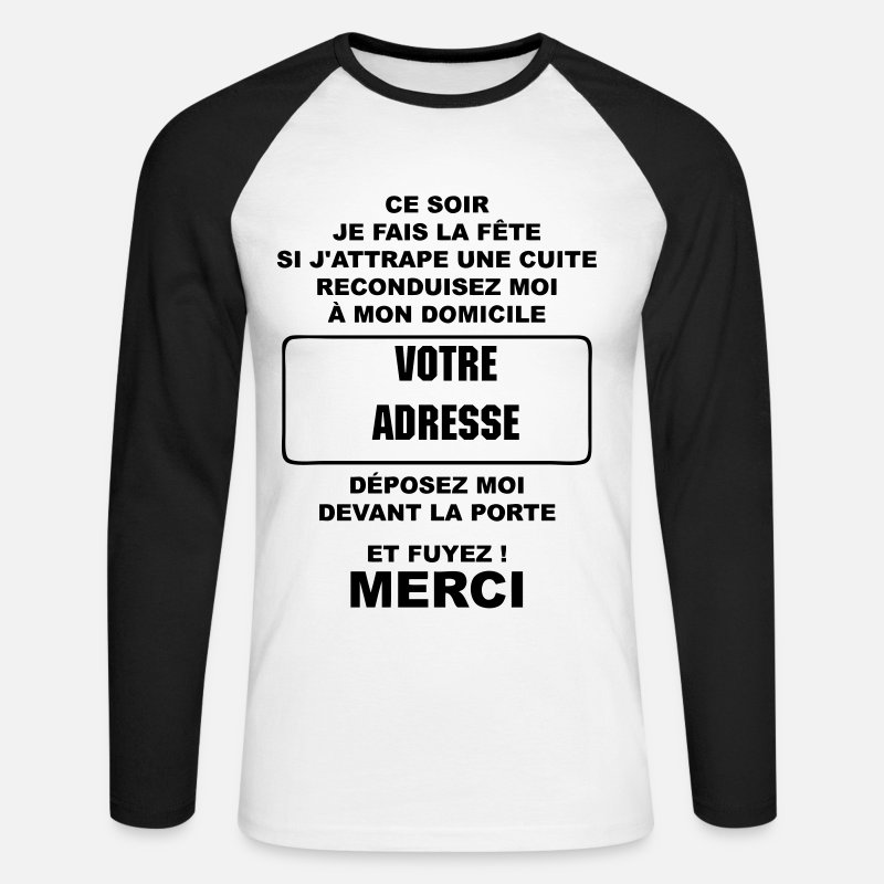 Humour Manches longues - alcool humour - T-shirt manches longues baseball Homme blanc/noir