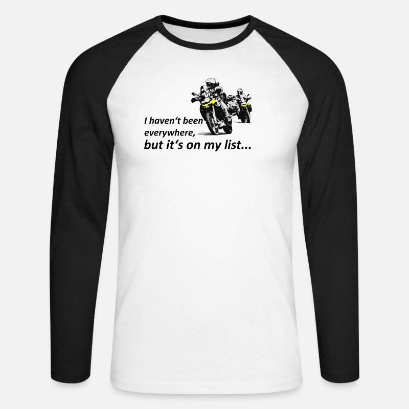 Motorcycle Long Sleeve Shirts - Dualsport it's on my list (two riders) - Men's Longsleeve Baseball T-Shirt white/black