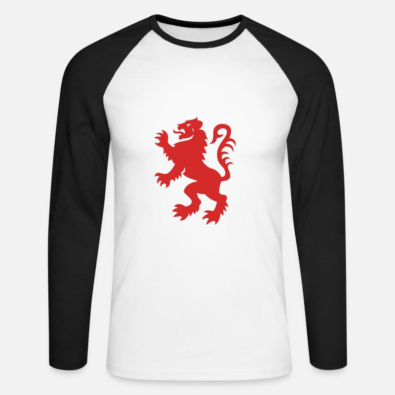 Lion Long Sleeve Shirts - Red Lion Rampant - Men's Longsleeve Baseball T-Shirt white/black