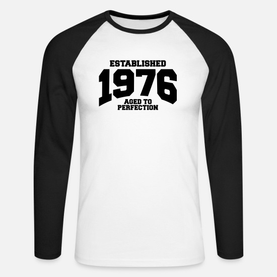 1976 Camisas de manga larga - aged to perfection established 1976 (es) - Camiseta de manga larga de béisbol hombre blanca/negro