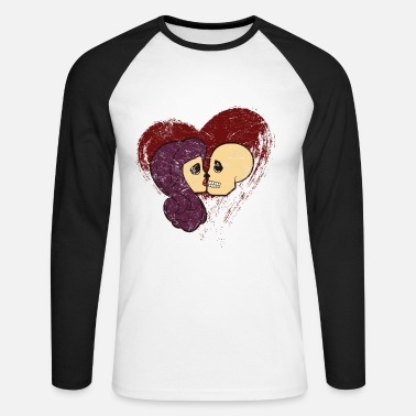 Skull skull couple love heart - Men's Longsleeve Baseball T-Shirt
