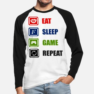 Game Eat Sleep Game Repeat - Men's Longsleeve Baseball T-Shirt