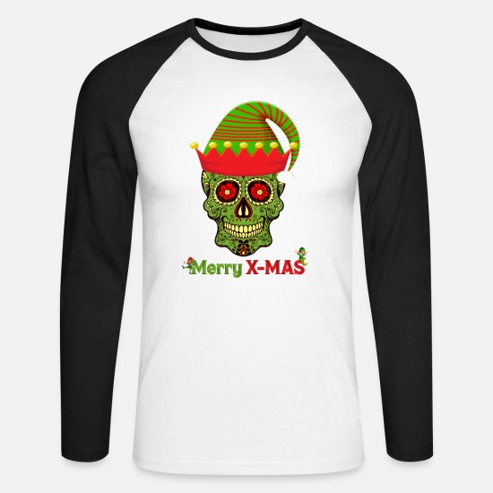 Gift Idea Long Sleeve Shirts - Merry X-MAS Happy Elf - Men's Longsleeve Baseball T-Shirt white/black