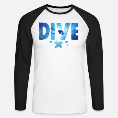Scuba Scuba Diving Divers Shadow Deep Swim - Diving - Men's Longsleeve Baseball T-Shirt