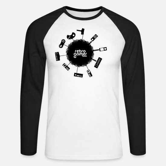 Geek Long Sleeve Shirts - retro gamer - Men's Longsleeve Baseball T-Shirt white/black