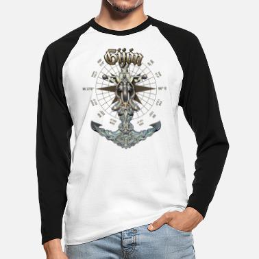 Gijón Anchor Nautical Sailing Boat Summer - Men's Longsleeve Baseball T-Shirt