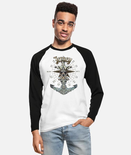 Diver Long-Sleeved Shirts - Jersey Anchor Nautical Sailing Boat Summer - Men's Longsleeve Baseball T-Shirt white/black