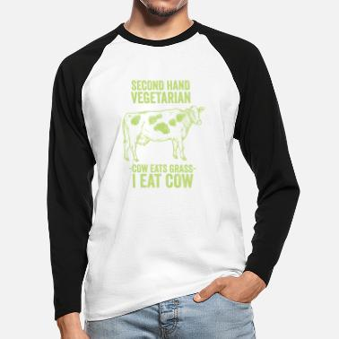 Hand Second Hand Vegetarian - funny shirt - Men's Longsleeve Baseball T-Shirt