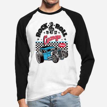 Rockabilly Rockabilly Vintage Car Rocker Rock N Roll - Langermet baseball-T-skjorte for menn