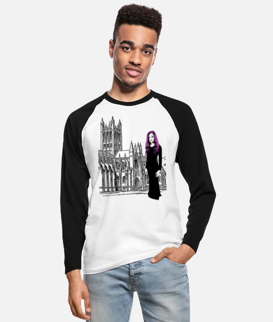 Ghastly Long-Sleeved Shirts - Gothic Edition design - Men's Longsleeve Baseball T-Shirt white/black