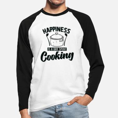 No Meat Happiness is A Day Spent Cooking Cooking - Men's Longsleeve Baseball T-Shirt