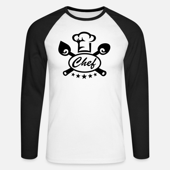 Verjaardag Shirts met lange mouwen - Cook Chef 5 stars gift best hat kitchen birthday - Mannen baseball longsleeve wit/zwart