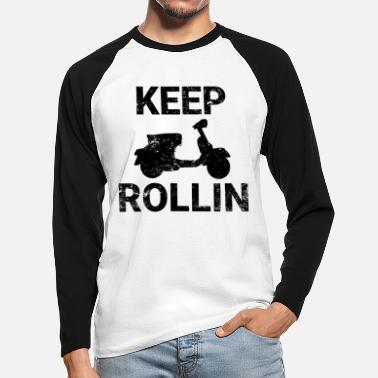 Scooters Meet Keep Rollin scooter PX retro scooter gift - Men's Longsleeve Baseball T-Shirt