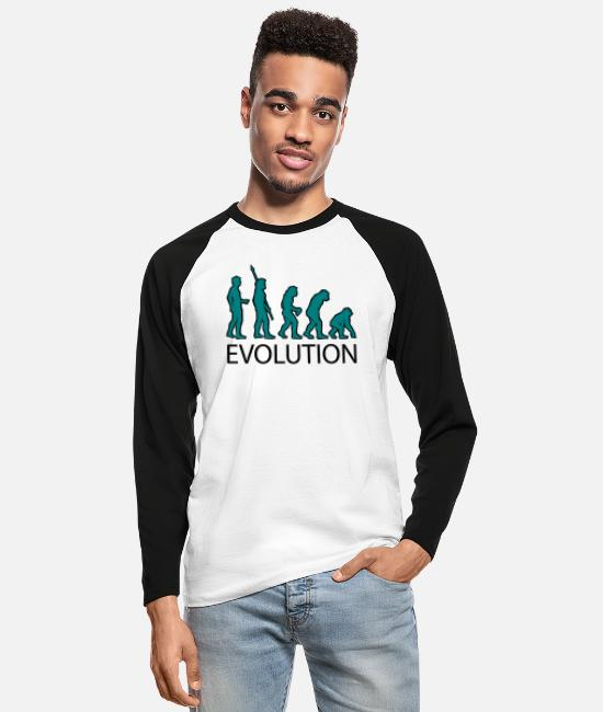 Darwin Long-Sleeved Shirts - evolution - Men's Longsleeve Baseball T-Shirt white/black