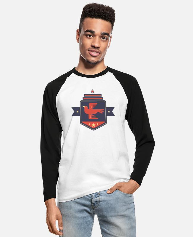 Young Long-Sleeved Shirts - Leibl Designs - Coat of arms Eagle - Men's Longsleeve Baseball T-Shirt white/black