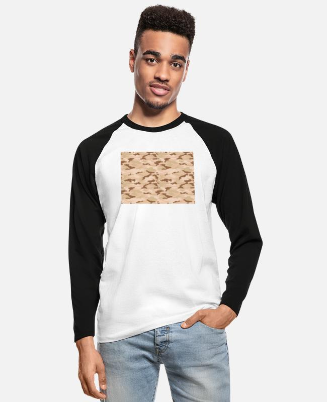 Desert Camo Long-Sleeved Shirts - desert camo - Men's Longsleeve Baseball T-Shirt white/black