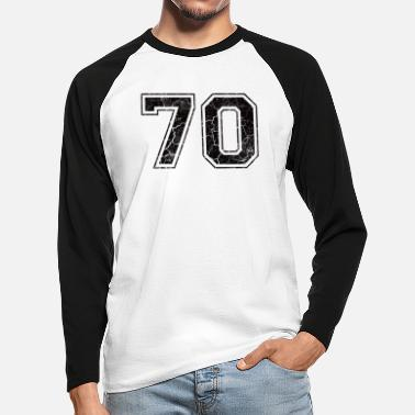 Number Number 70 in the grunge look - Men's Longsleeve Baseball T-Shirt