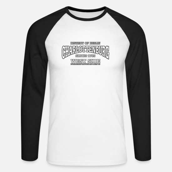 Radio Tower Long sleeve shirts - Charlottenburg Berlin West Side (white) - Men's Longsleeve Baseball T-Shirt white/black