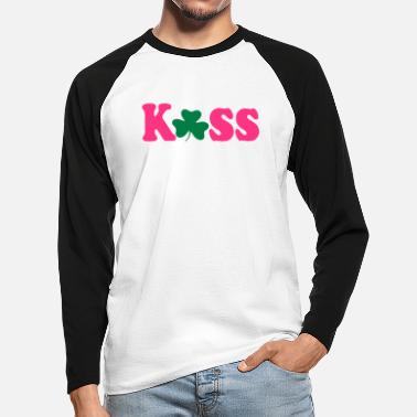 Vector Underwear ۞»♥Kiss Irish Shamrock-Vector Desgin♥«۞ - Men's Longsleeve Baseball T-Shirt