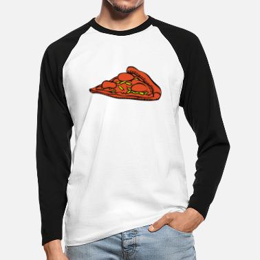 eat, Pizza, more burger, nearly, food, food, - Miesten baseball pitkähihainen paita