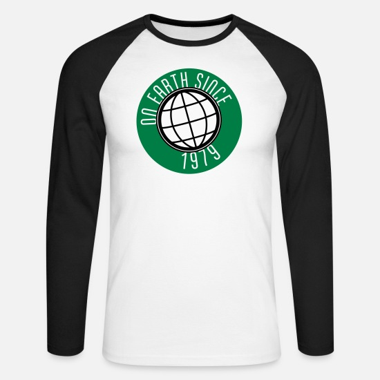 1979 Manches longues - Birthday Design - On Earth since 1979 (fr) - T-shirt manches longues baseball Homme blanc/noir