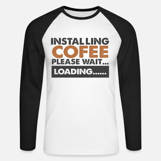 Gift Idea Long sleeve shirts - Coffee drinker gift - Men's Longsleeve Baseball T-Shirt white/black