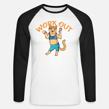 Training Cat workout fitness gym - Men's Longsleeve Baseball T-Shirt
